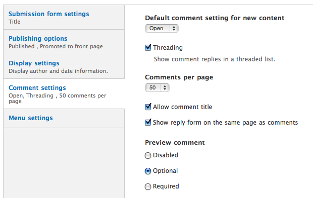 Content type comment configuration