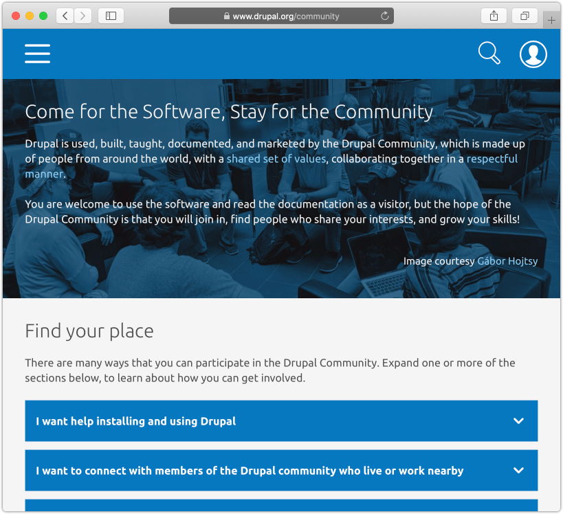 A screenshot of the community section on Drupal.org