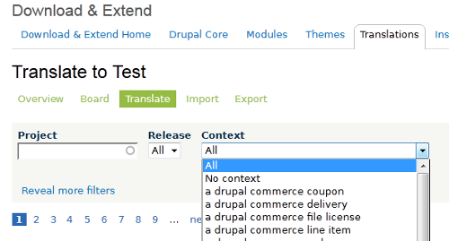 "In the drop-down box labeled ""Context"", you'll find a list of all contexts."