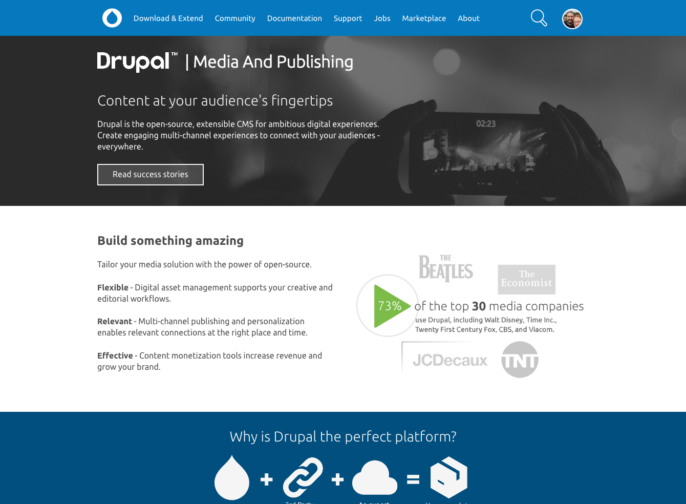 Screenshot of media industry page on drupal.org