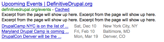 Google Rich Snippet preview for a listing of events powered by Drupal 7, schema.org and RDFa