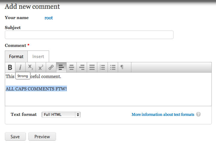 Aloha Editor on a comment form.