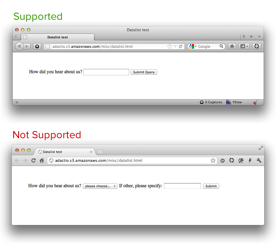 Screenshot of Datalast with select fallback in Firefox (supported) and Chrome (not supported)