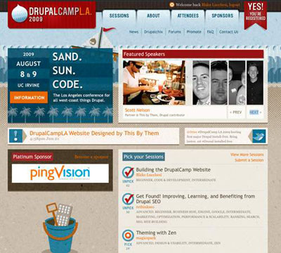 DrupalCampLA Homepage Screenshot