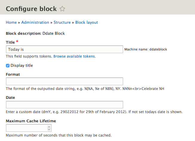 Ddate Block Drupal Module Configuration Interface