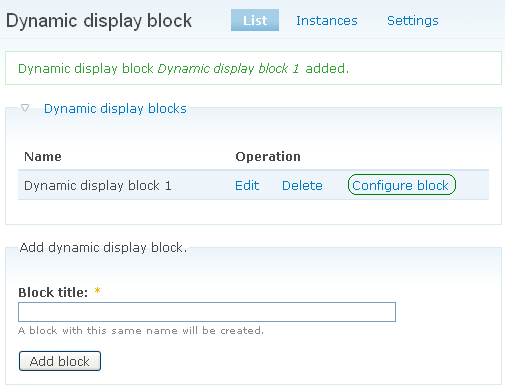 Configuring a block page