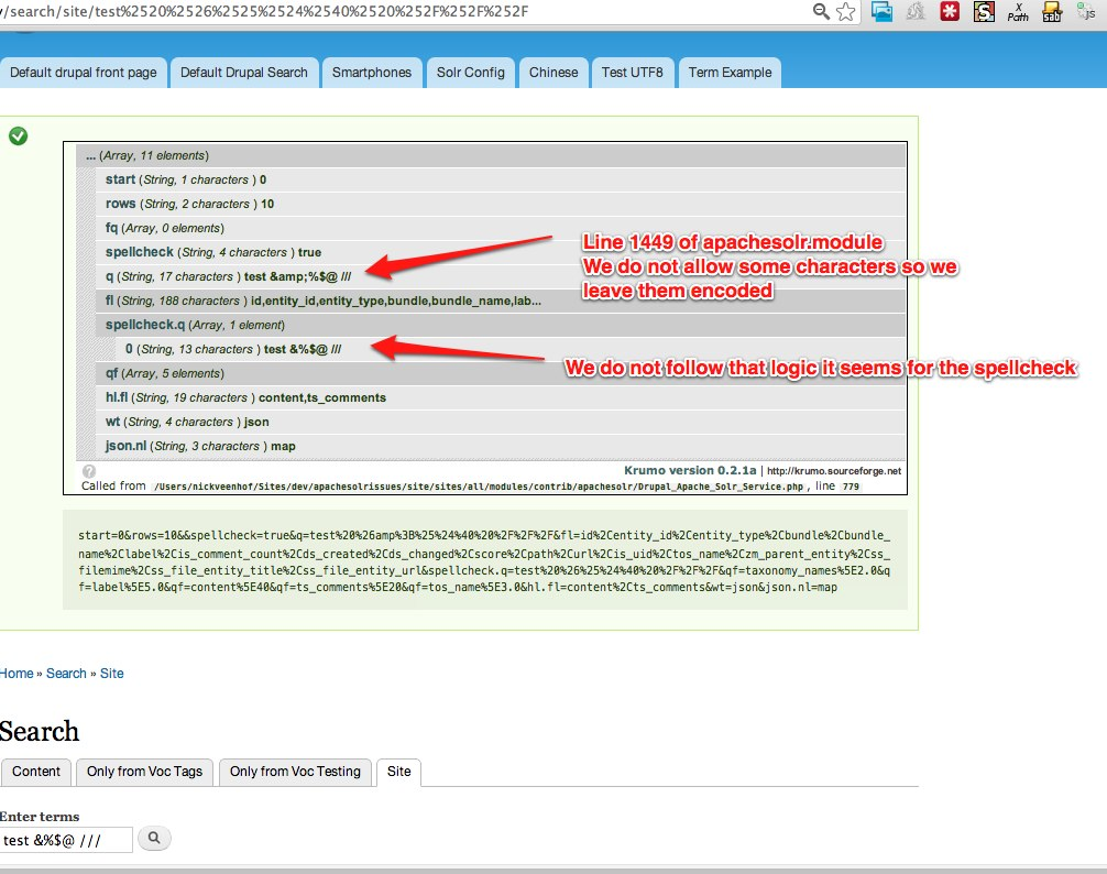 Search query string gets double encoded when core Search block form