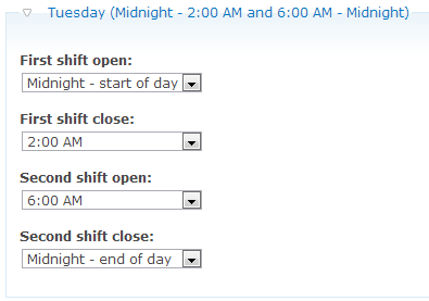 default hours configuration