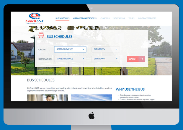 Desktop view of Coach USA's Homepage Redesign and Rebuild on Drupal 8