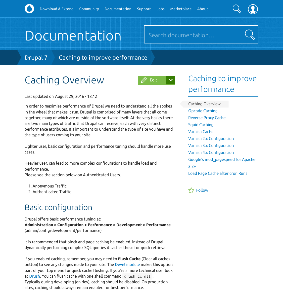 Documentation page screenshot