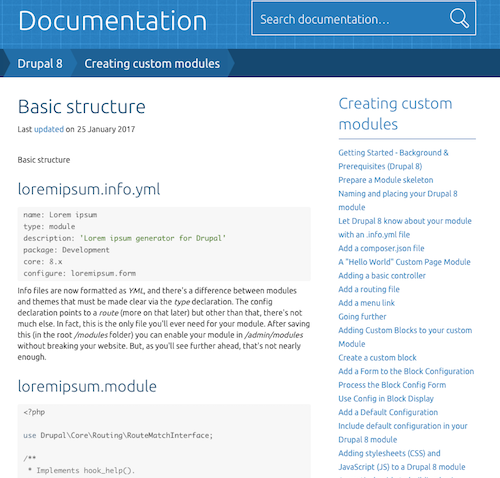 Basic structure doc page for Drupal 8 Creating Custom Modules section