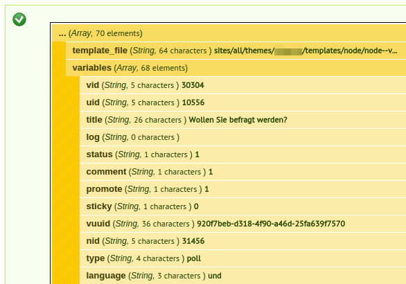 Debugging display all drupal variables at the bottom of a page image of dpm output maxwellsz