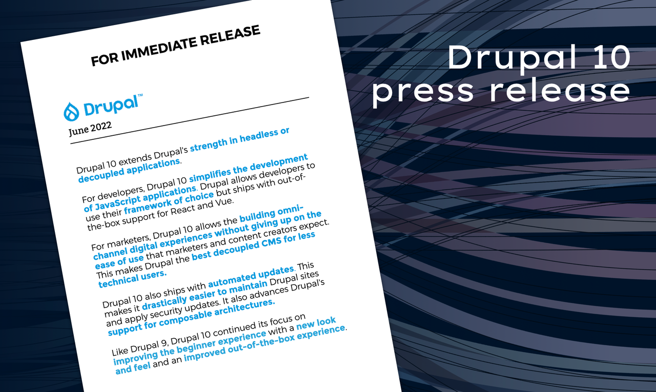 A fictitious or forward-looking press release for Drupal 10 in June 2022.