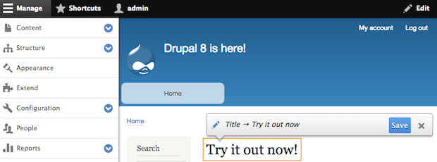 Screenshot of the Drupal 8 Quick Edit feature