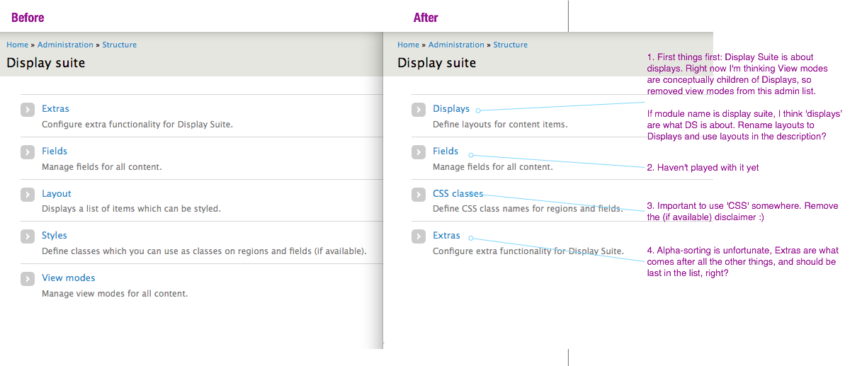 before/after screenshot of admin/structure/display suite links