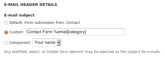 This is a screen capture of E-mail Settings for Webform