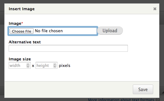 The Editor module image upload form showing the described user interface for entering width and height.