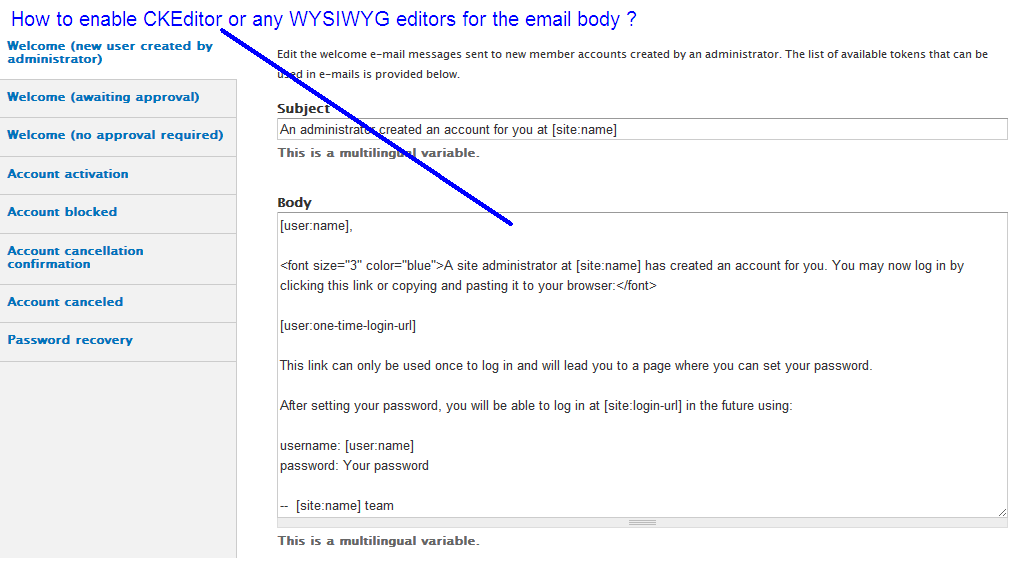 How To Enable CKEditor In Email Body For Adminconfigpeople - Html email body template