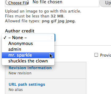 The author credit field shows, and displays a list of users on the site, along with 'Anonymous'
