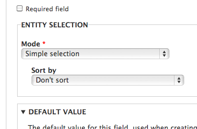 Specify selection mode and sort by.