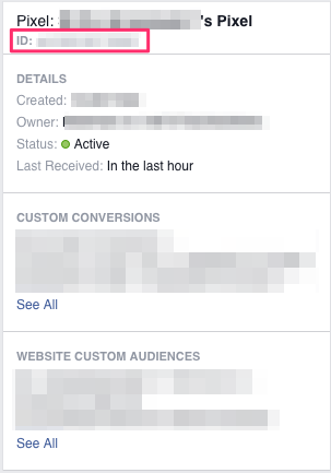 facebook ads manager pixel id