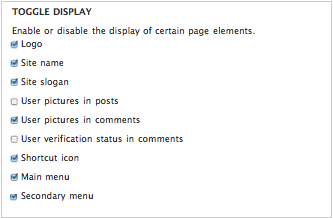 Screenshot of features enabled in Drupal 7