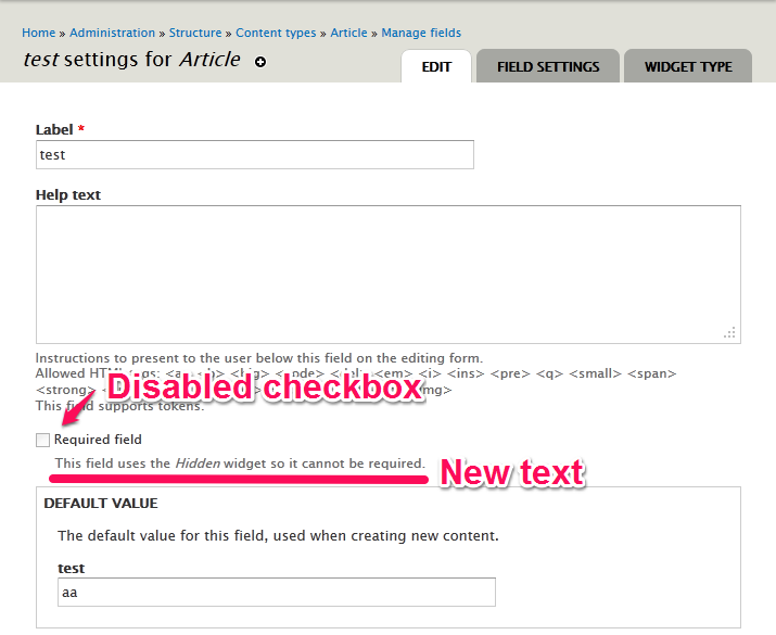 Provide a 'Hidden' field widget [#1465774] | Drupal org