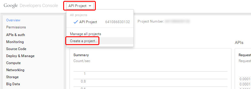 Google Developers Console - Create a project.