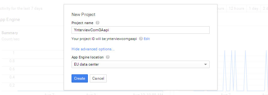 Google Developers Console - New project.