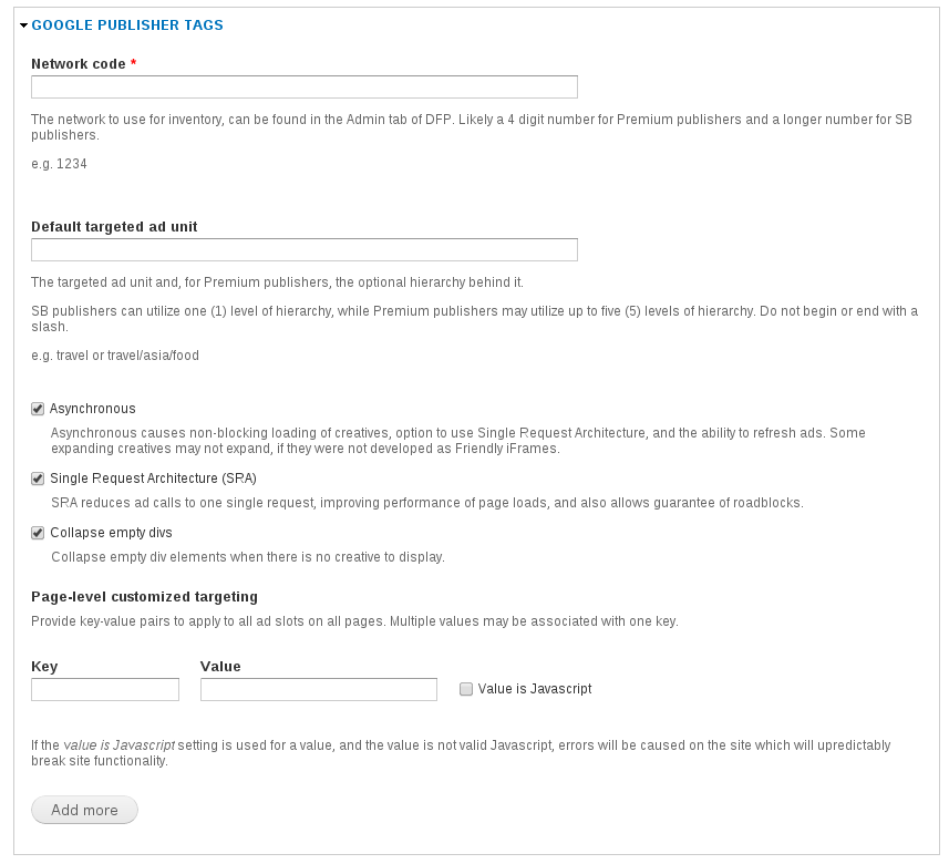 GPT ad manager settings form fieldset