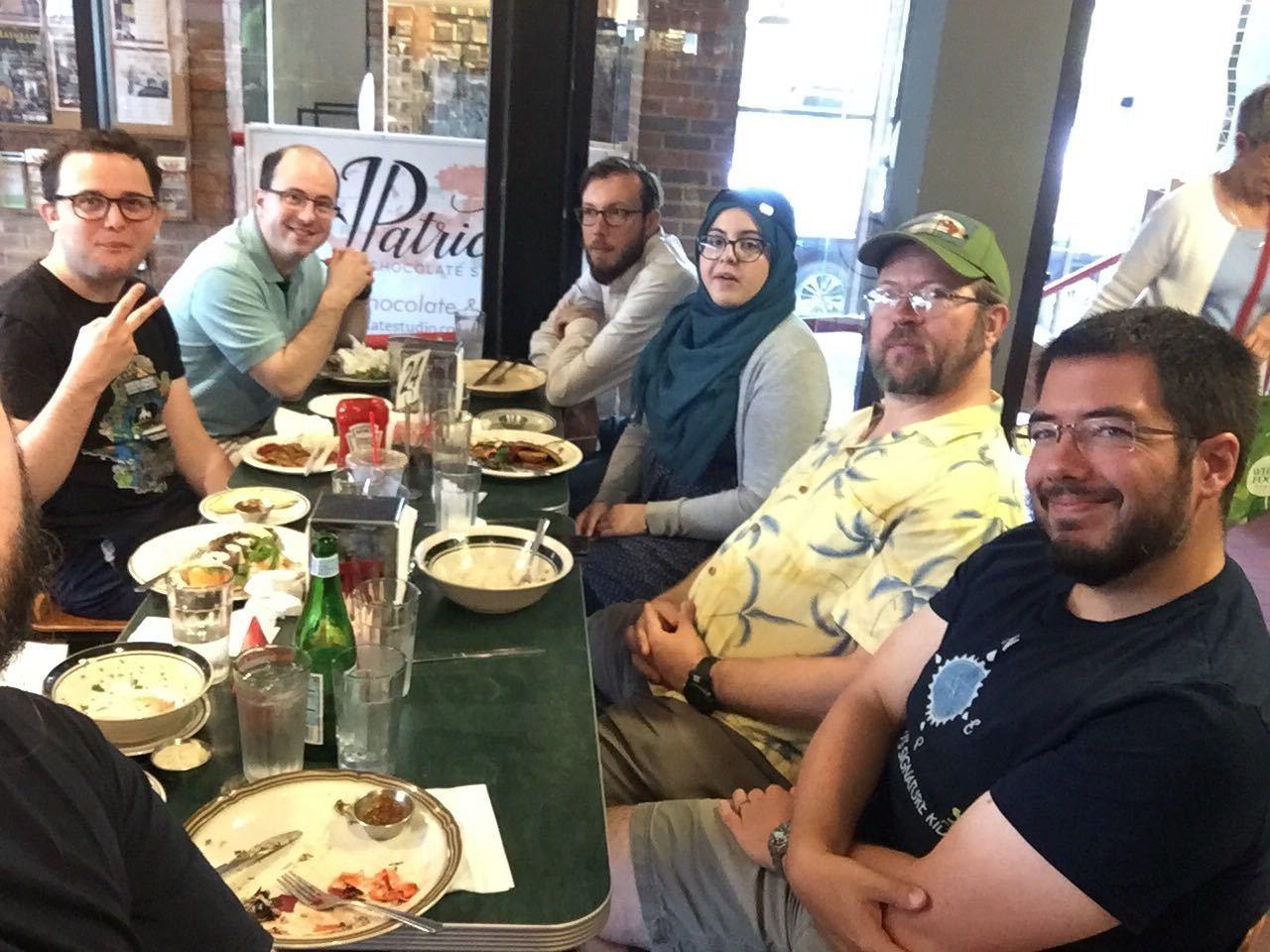 Group of Drupalers enjoy lunch together