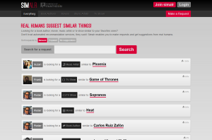 screenshot of simalr homepage