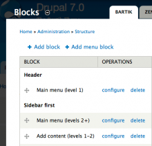 "The ""Add menu block"" link and 3 example menu blocks"