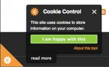 Cookie Control pop-up