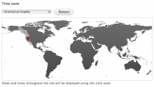 Screenshot of Timezone Picker showing world map