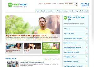 myhealth London homepage
