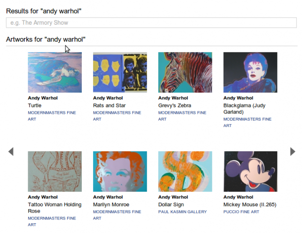 Artist artworks search results