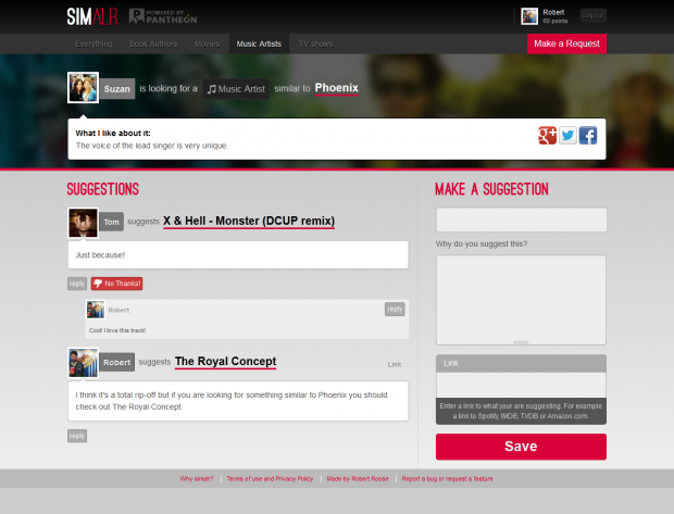 Screenshot of a request page on simalr