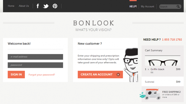 BonLook Checkout Page Screenshot