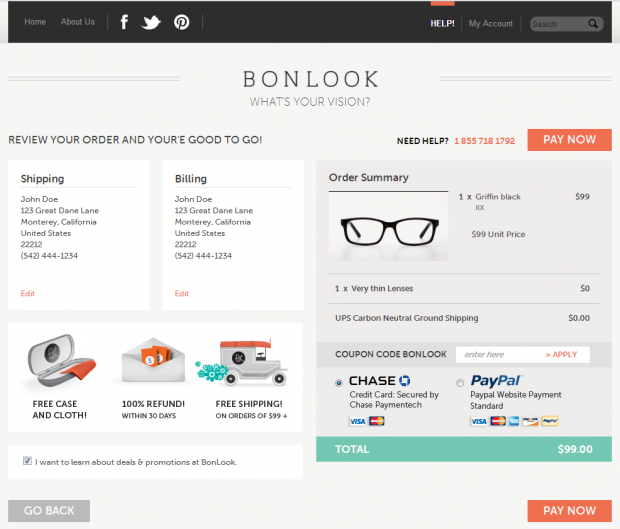 BonLook Order Review Page Screenshot