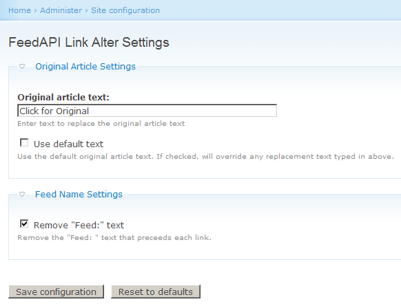 FeedAPI Link Alter Admin Settings