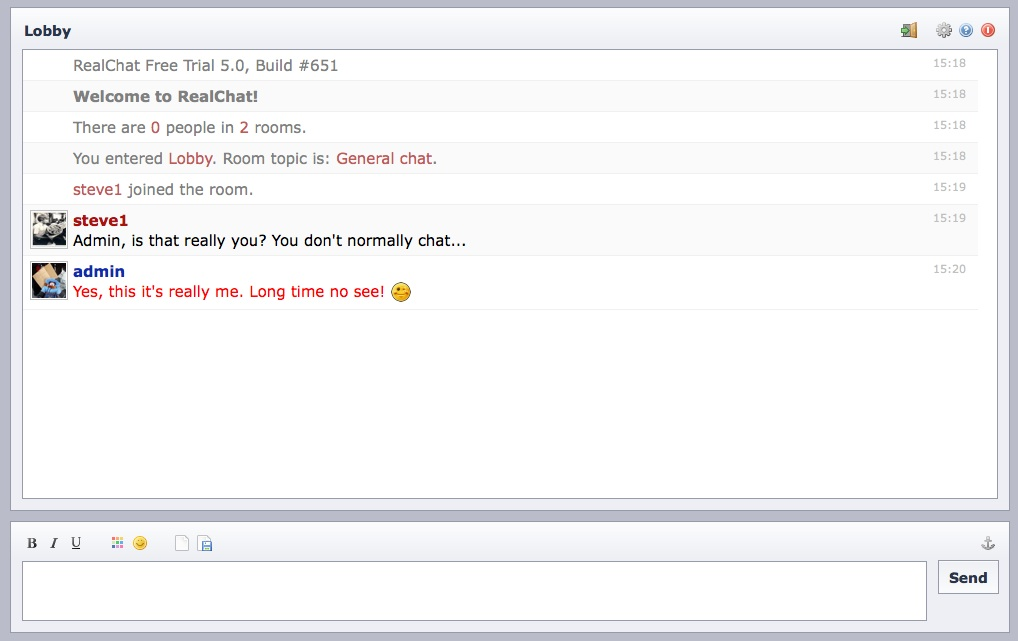 An example of chatting from a Drupal site using a RealChat server