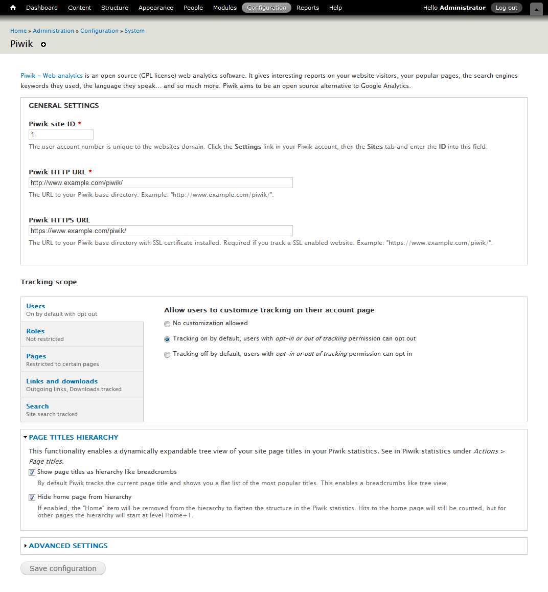 Piwik web analytics drupal piwik for drupal configuration page pronofoot35fo Gallery
