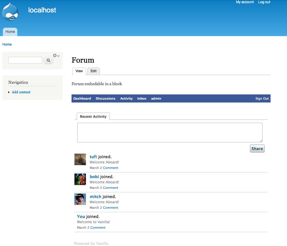 Orchid : Vanilla forums integration | Drupal org