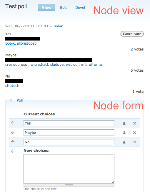 Poll view and settings in node form
