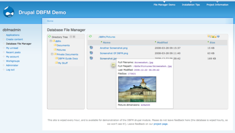 DataBase File Manager | Drupal org