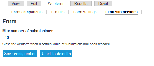 Webform limit submissions