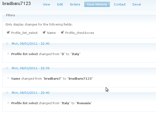 User history tab