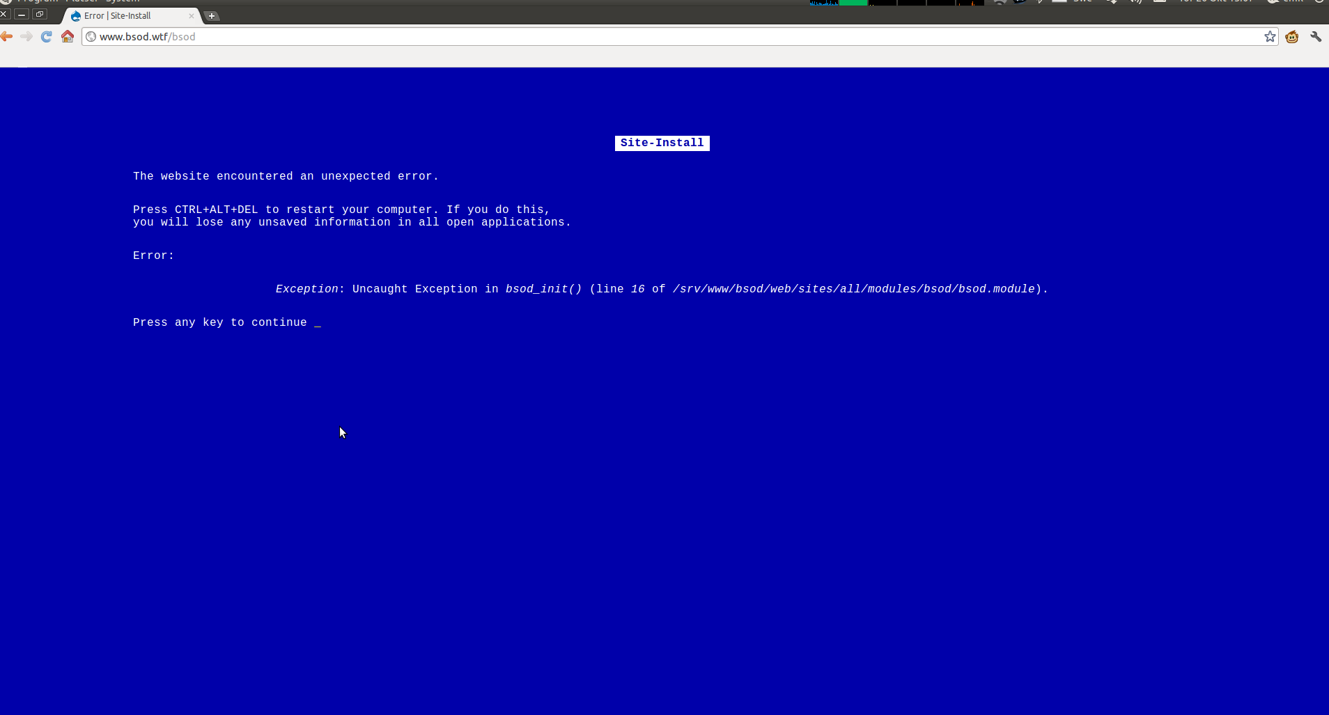 bsod blue screen of death drupal org