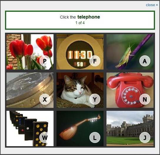 Image-based Captcha from Confident Technologies